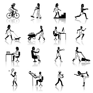Physical activities icons black set with people silhouettes working cleaning cycling walking isolated vector illustration